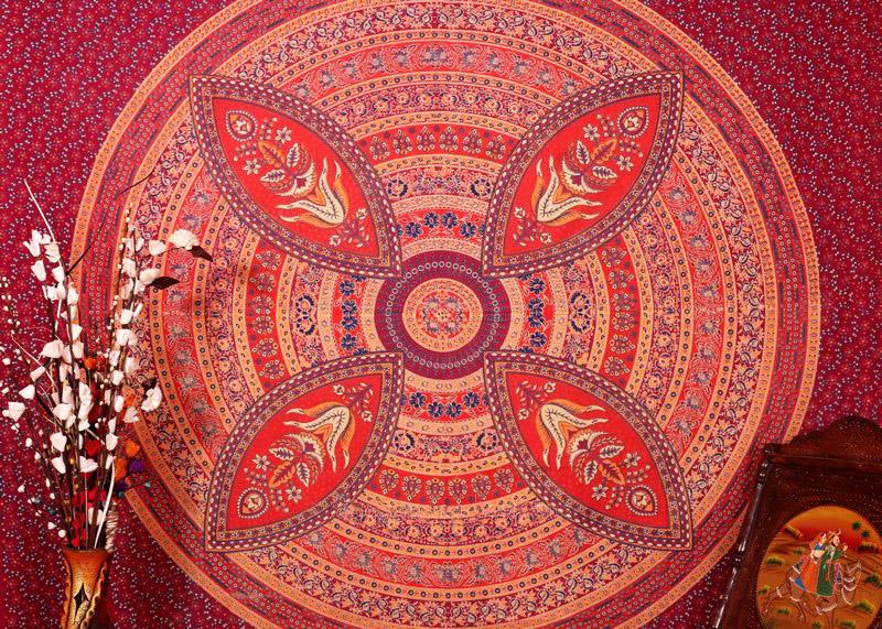 Buy Designer Maroon Flower Mandala Tapestry Wall Hanging Bedding -3830