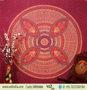 Buy Designer Maroon Flower Mandala Tapestry Wall Hanging Bedding -0