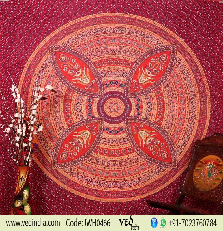Buy Designer Maroon Flower Mandala Tapestry Wall Hanging Bedding -0