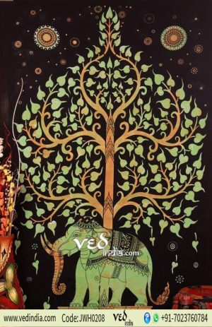 Orange and Green Elephant Tree Tapestry
