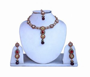 Buy Traditional Fancy Party Wear Necklace Set With Earrings and Tika from India -0
