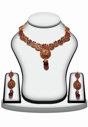 Party wear Red and Green Stone Polki Necklace Set with Designer Earrings-0