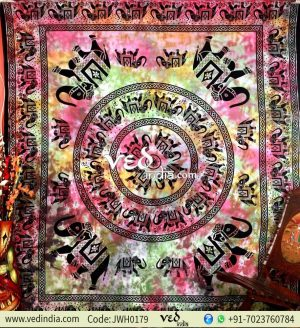 Pink Multi Color Elephant Tapestry