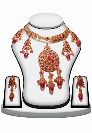 Pink, Red and White Polki Stones Designer Necklace Set for Women -0