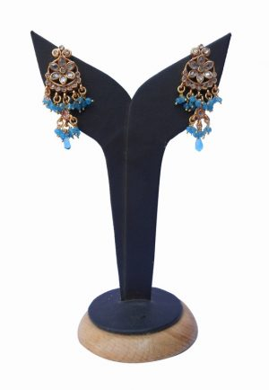 Hottest Design Turquoise Colored Stone Polki Earrings for Stylish Girls-0