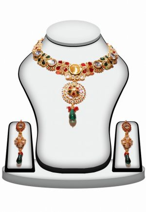 Polki Pendant Set Designs with Earrings Red, Green and White Color-0