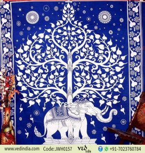 Blue Indian Hippie Elephant Tapestry