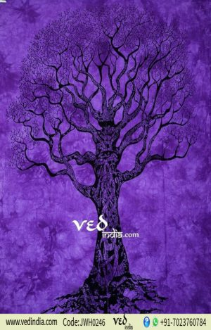 Purple Hippie Tree of Life Tapestry