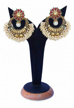Latest Design Ram Leela Earrings for Women in Red and Green Stones-0