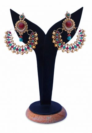 Elegant Red and Green Stones with Golden Beads Studded Ram Leela Earrings-0