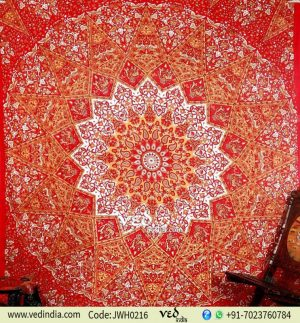 Red and Mustard Round Star Tapestry