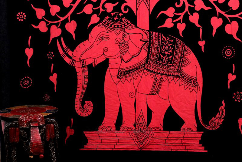 Red Elephant Mandala Tapestry with Tree in Tie and Dye Print from India-0