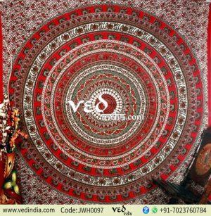 Red Handlook Peacock Tapestry