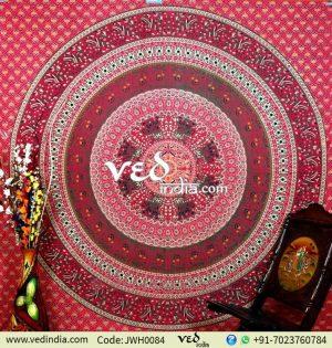 Red Parrot Mandala Tapestry