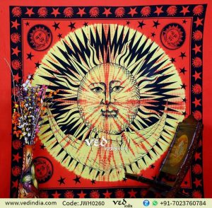 Red Sun and Moon Indian Tapestry
