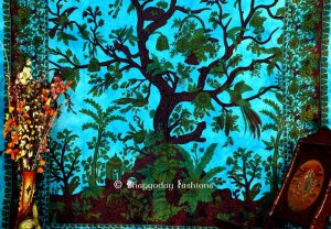Shop Online Tree of Life Tapestry Wall Hanging in Sky Blue and Green Print for Decoration -0