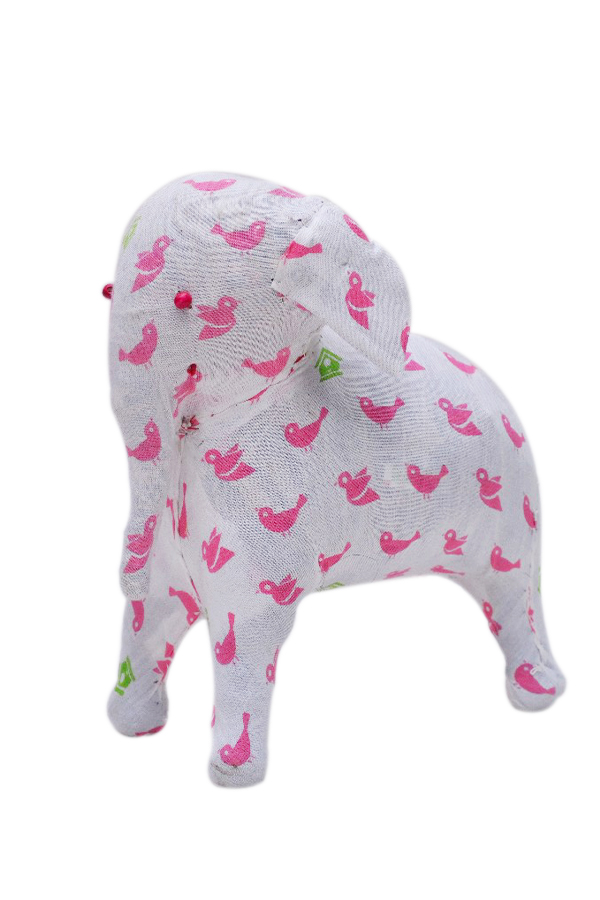 Gorgeous White Soft Stuffed Elephant With Pink Birds Designs-0