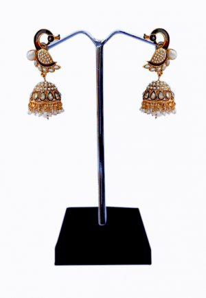Buy Elegant Kundan Stones and Pearl Studded Peacock Earrings With Antique Polish-0