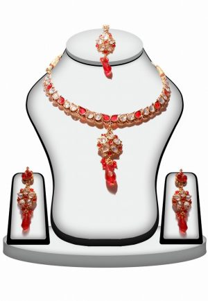 Stylish Fashion Necklace Set With Maang Tikka in White and Red Stones -0