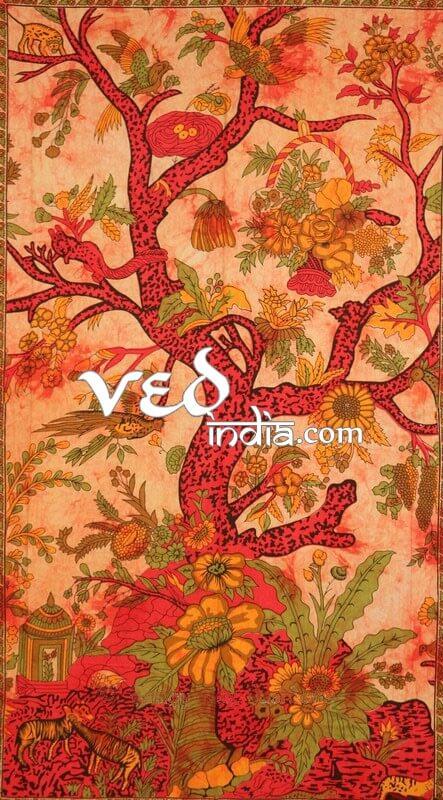 Tree of Life Indian Bedspread in Orange