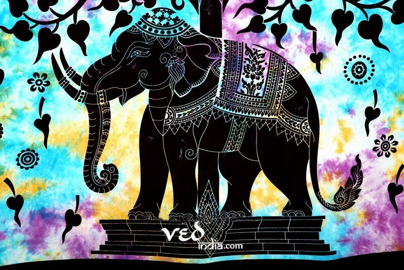 Elephant Tapestry in Blue Color