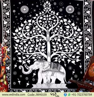 White and Black Elephant Tree Tapestry
