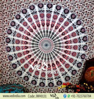 White and Purple Psychedelic Tapestry