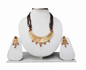 Amber Jaipur Thewa Jewelry Set with Earrings for Weddings-0