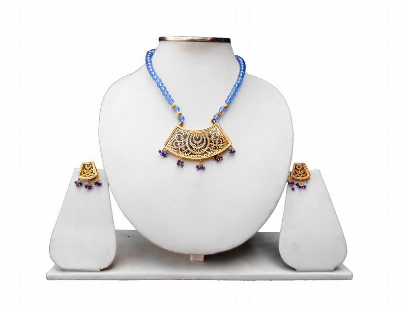 Antique Polish Traditional Thewa Pendant Set with Earrings from India-0