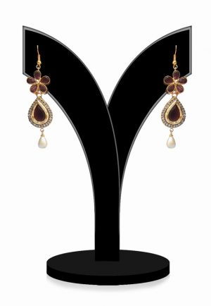Attractive Designer Earrings in Red and White Stones for Girls for Festivals-0