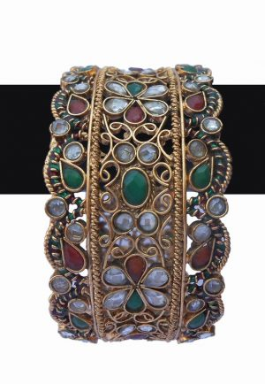 Elegant TraditionalBangles in Red, Green and White Stones-0