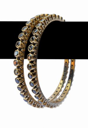 Latest Design Fashion Bangles in Red Color Stones from India-0