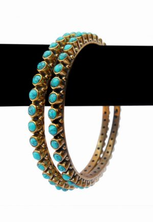 Beautiful Bridal Bangles in Turquoise Stones with Antique Polish-0