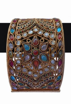 Beautiful Designer Broad Multicolor Stones Bridal PolkiKada for Weddings-0
