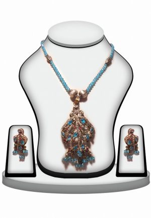 Beautiful Designer Girls Victorian Pendant Set in Turquoise and Red Stones -0