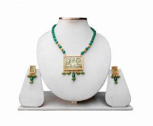 Beautiful Designer Turquoise Beads Thewa Pendant Set for Weddings-0