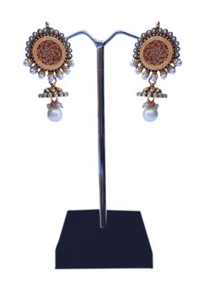 Buy Online Beautiful White Pearl and Stones Studded Jhumka Earrings-0
