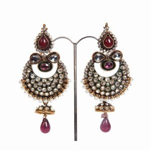 Beautiful Indian Fashion Earrings in White Stones with Red Drops-0