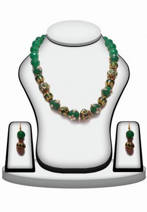 BeautifulGreen Beaded Necklace Set with Kundan Work and Antique Polish-0