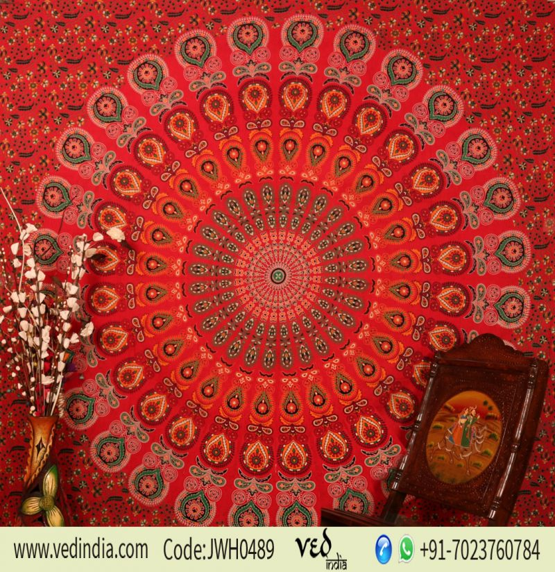 Buy Bird Wings Round Mandala Tapestry Bedding Queen in Red Print-0