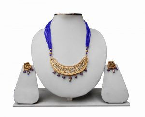 Blue Beads Designer Thewa Necklace Set with Matching Earrings-0