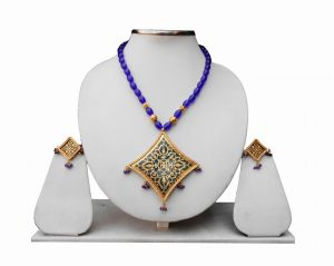 Blue Beads Fancy Indian Thewa Pendant Set -0