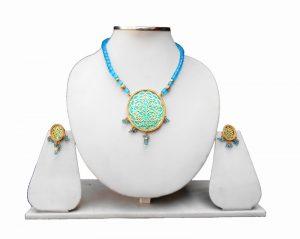 Blue Beads Stylish Indian Thewa Pendant Set with Designer Earrings-0