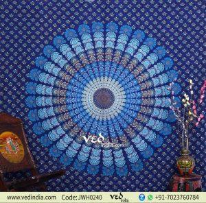 Blue Mandala PeacockTapestry