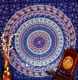 Blue Round Elephant Boho Dorm Wall Tapestry Bedspread Floor Cushion-0