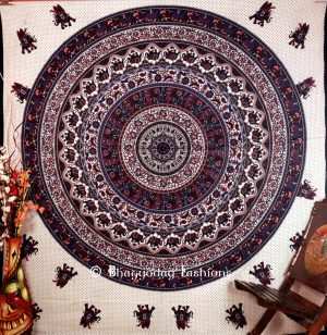 Blue White Round Lion Handlook Boho Tapestry Bedding Floor Cushions-0
