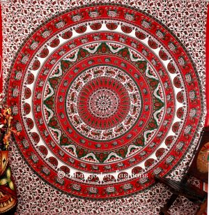 Bohemian Handlook Elephant Wall Tapestry in Round Red Ethnic Print-0
