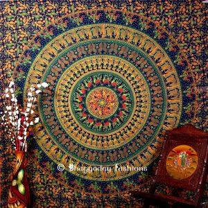 Bohemian Mandala Elephant Wall Tapestry in Round Blue Ethnic Print-0
