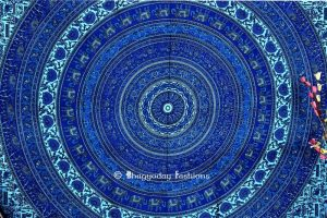 Bohemian Mandala Round Wall Tapestry in Round Blue Ethnic Print-0