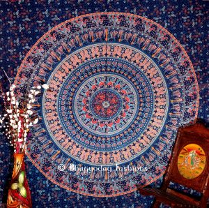 Boho Round Elephant Wall Hanging Dorm Bedroom Tapestry in Blue-0